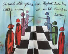 chess pawns in an artists' book