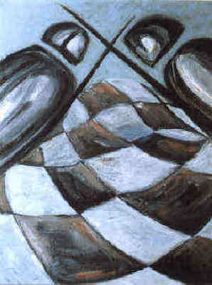chess fight oil on canvas painting by Elke Rehder
