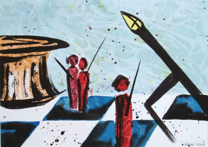 Chess - bishop in attack - painting in mixed media on paper signed by the artist Elke Rehder to the game of chess