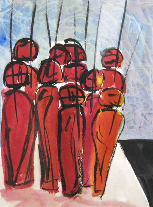 Chess - pawns meeting - painting in mixed media on paper signed by the artist Elke Rehder to the game of chess